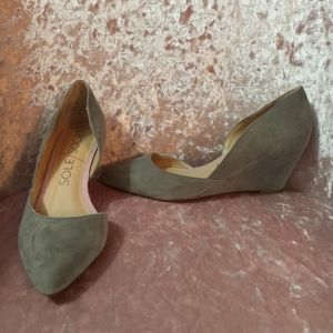 Sole Society Gray Suede Side Cut-Out Wedge Heels